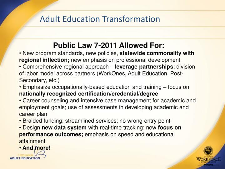 Adult Education Transformation