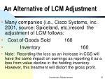 an alternative of lcm adjustment