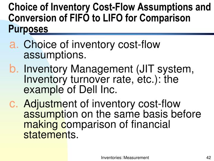 Choice of Inventory Cost-Flow Assumptions and Conversion of FIFO to LIFO for Comparison Purposes