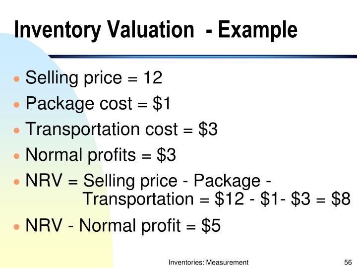 Inventory Valuation  - Example