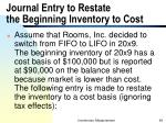 journal entry to restate the beginning inventory to cost