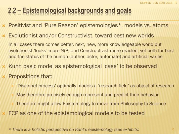 Positivist and 'Pure Reason' epistemologies*, models vs. atoms