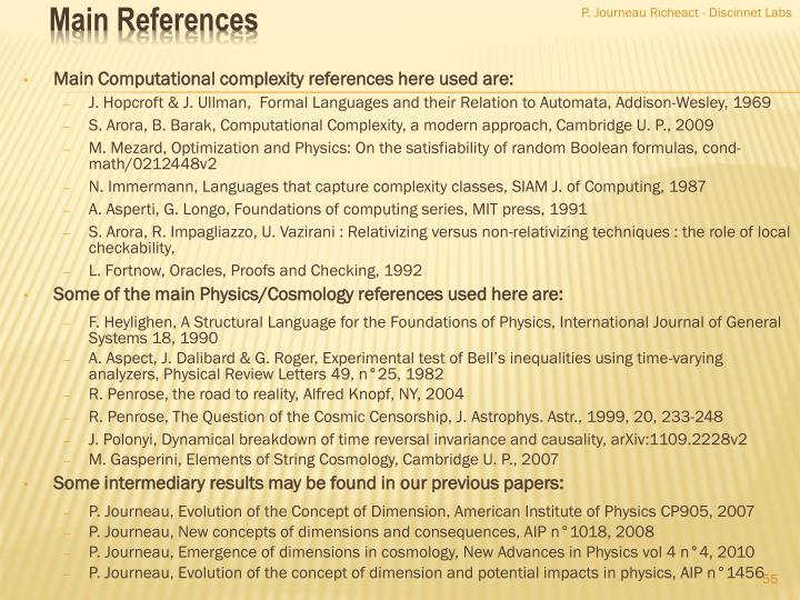 Main Computational complexity references here used are: