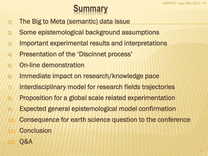 The Big to Meta (semantic) data issue