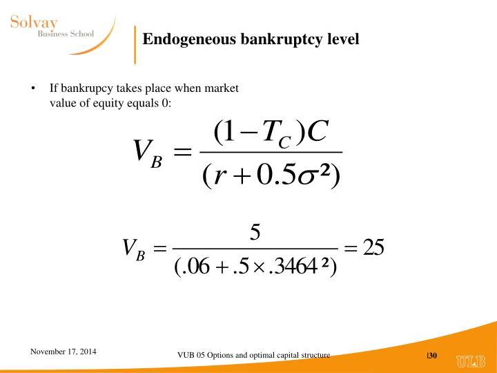 Endogeneous bankruptcy level