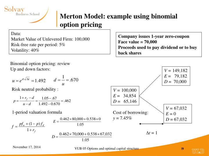 Merton Model: example using binomial option pricing