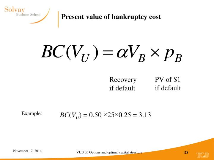 Present value of bankruptcy cost