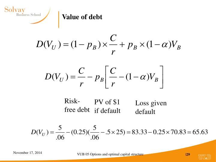 Value of debt