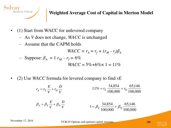 Weighted Average Cost of Capital in Merton Model