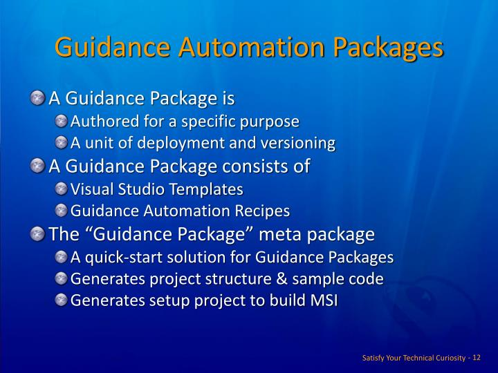 Guidance Automation Packages