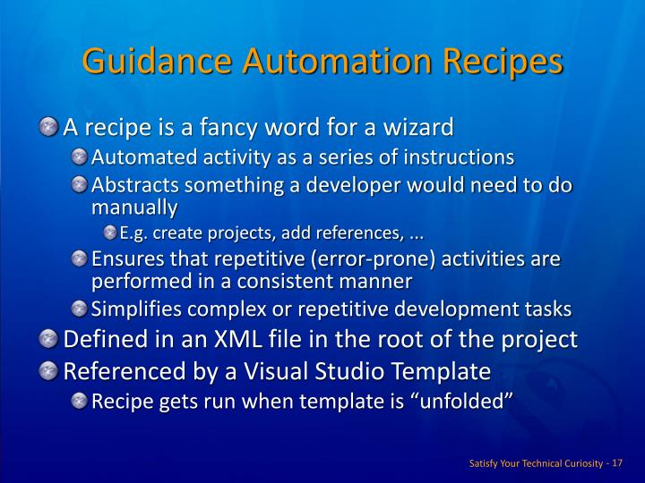 Guidance Automation Recipes