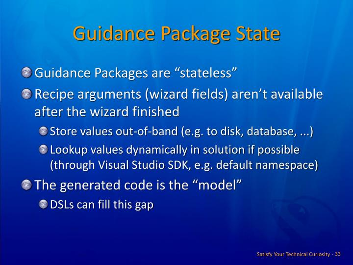 Guidance Package State