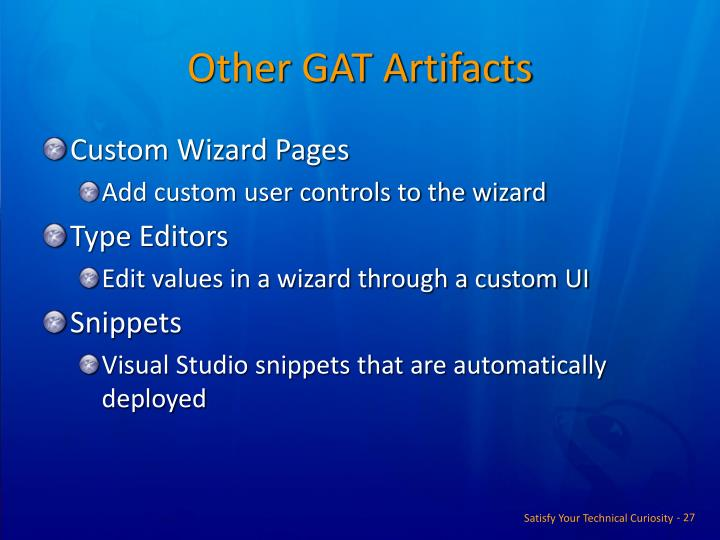 Other GAT Artifacts