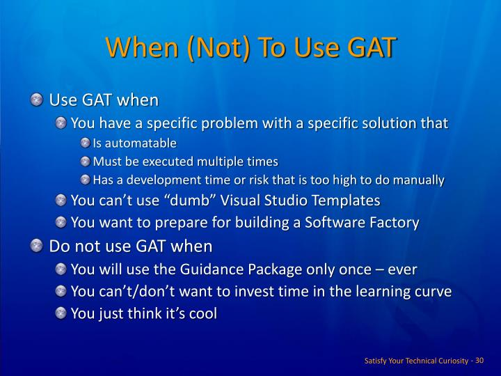 When (Not) To Use GAT