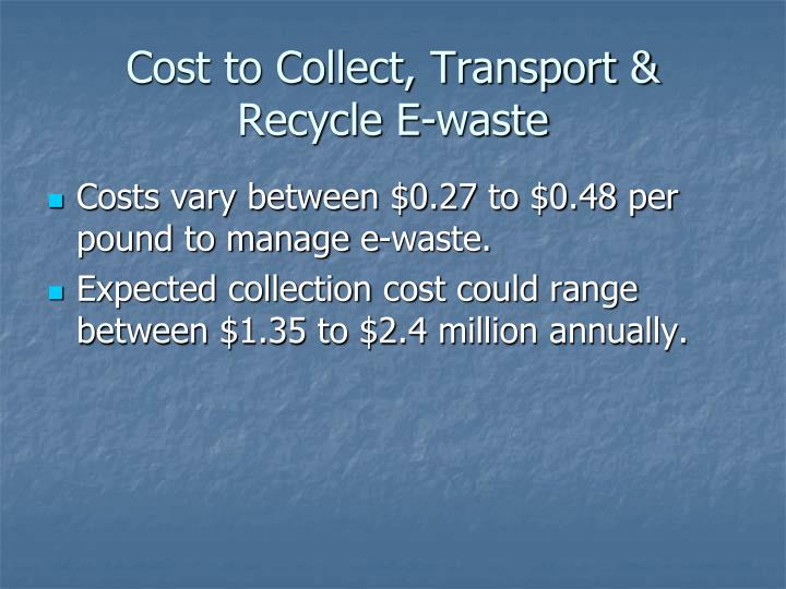 Cost to Collect, Transport & Recycle E-waste