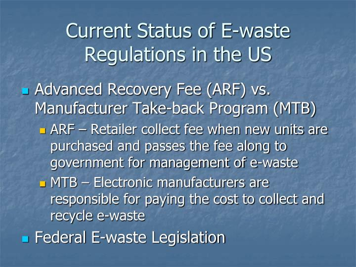 Current status of e waste regulations in the us