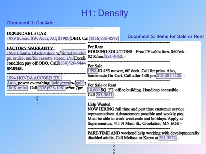 H1: Density