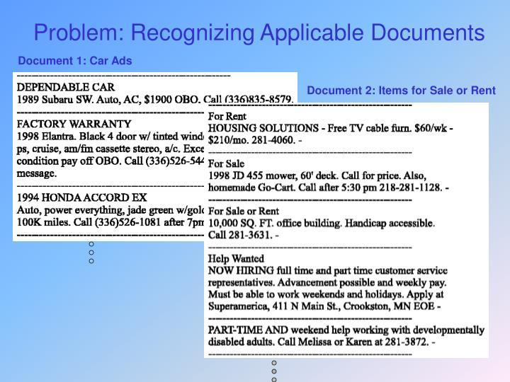 Problem: Recognizing Applicable Documents