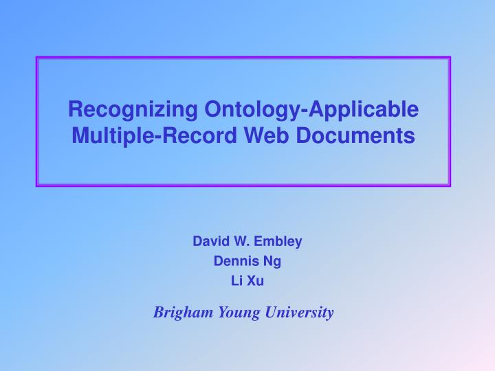 recognizing ontology applicable multiple record web documents