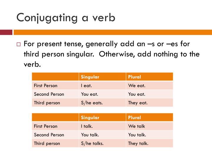 Conjugating a verb