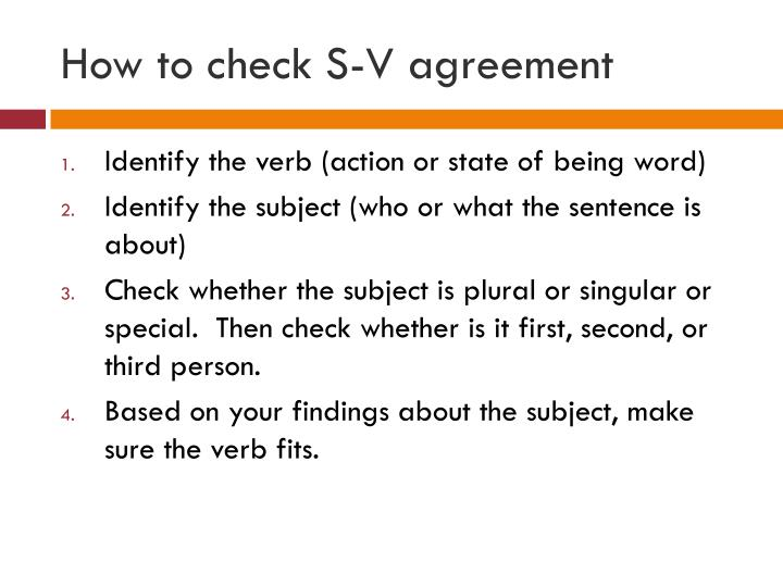 How to check S-V agreement
