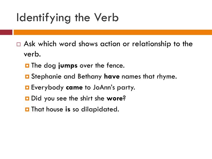 Identifying the Verb