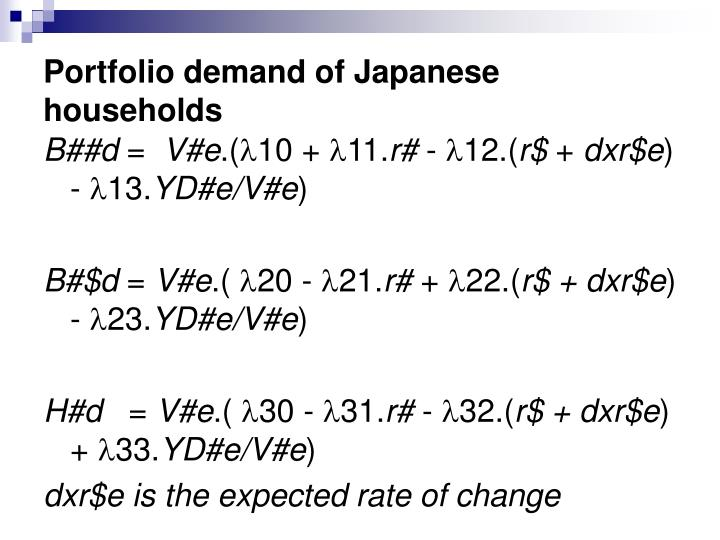Portfolio demand of Japanese households