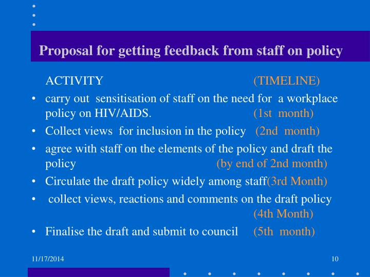 Proposal for getting feedback from staff on policy
