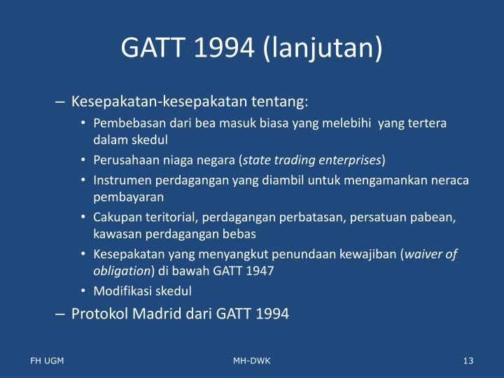 GATT 1994 (lanjutan)
