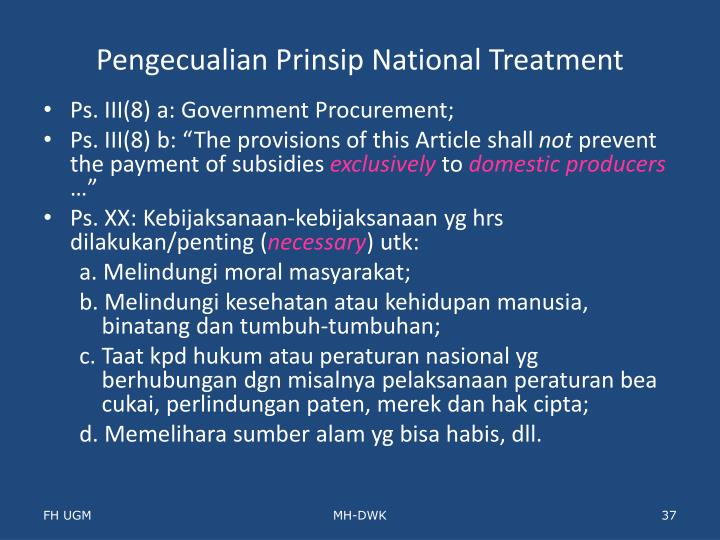 Pengecualian Prinsip National Treatment
