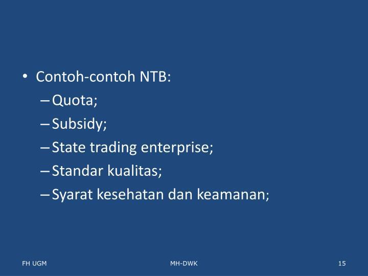 Contoh-contoh NTB: