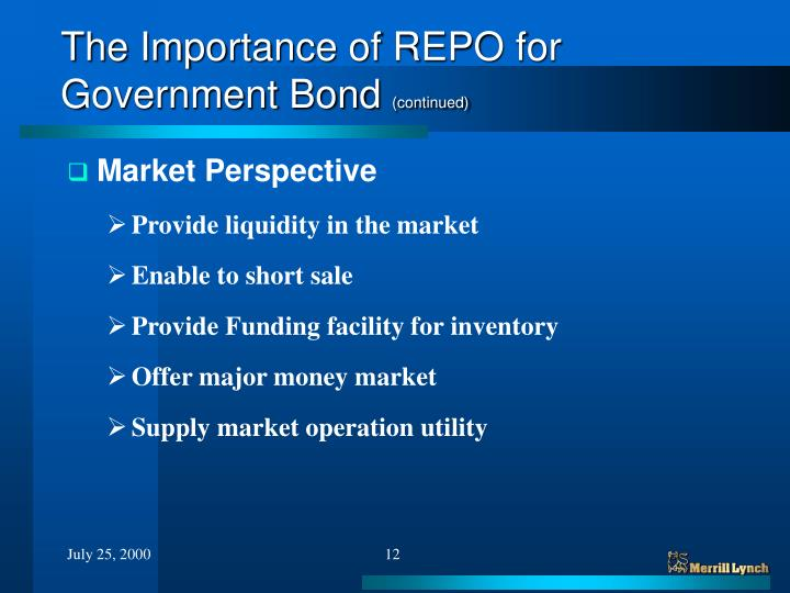 The Importance of REPO for Government Bond