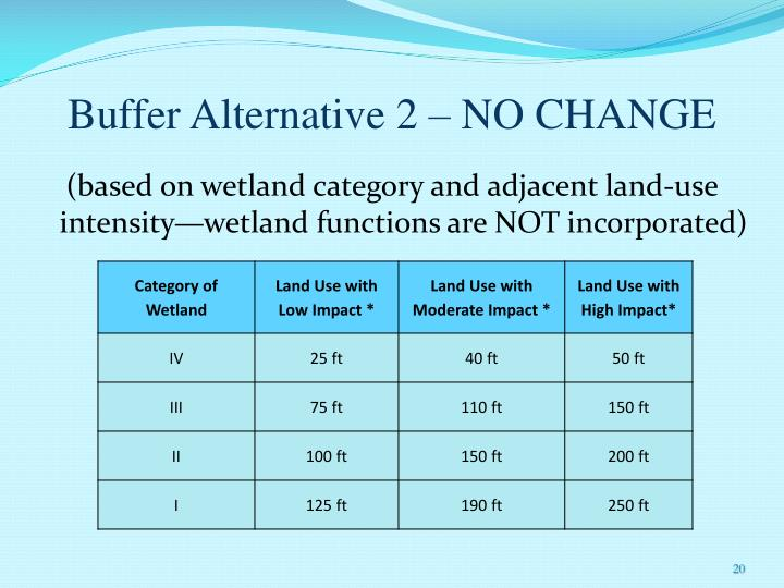Buffer Alternative 2 – NO CHANGE