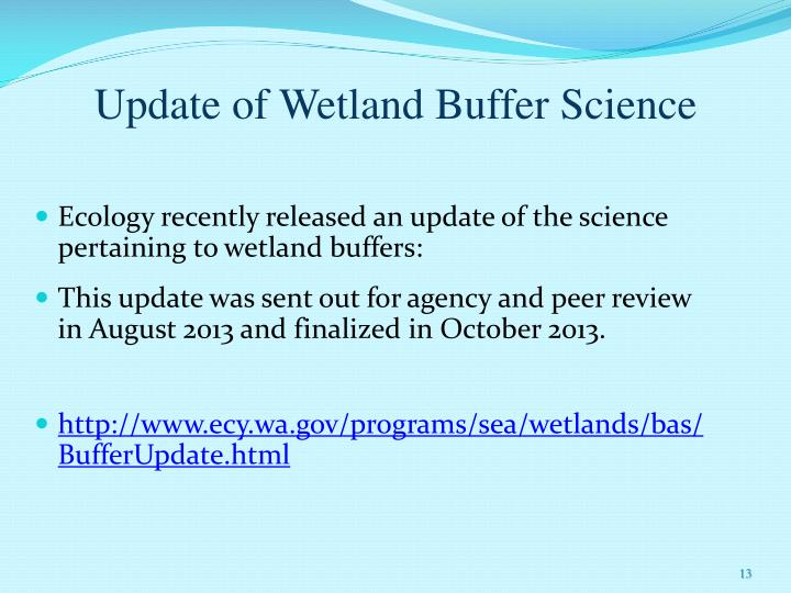 Update of Wetland Buffer Science