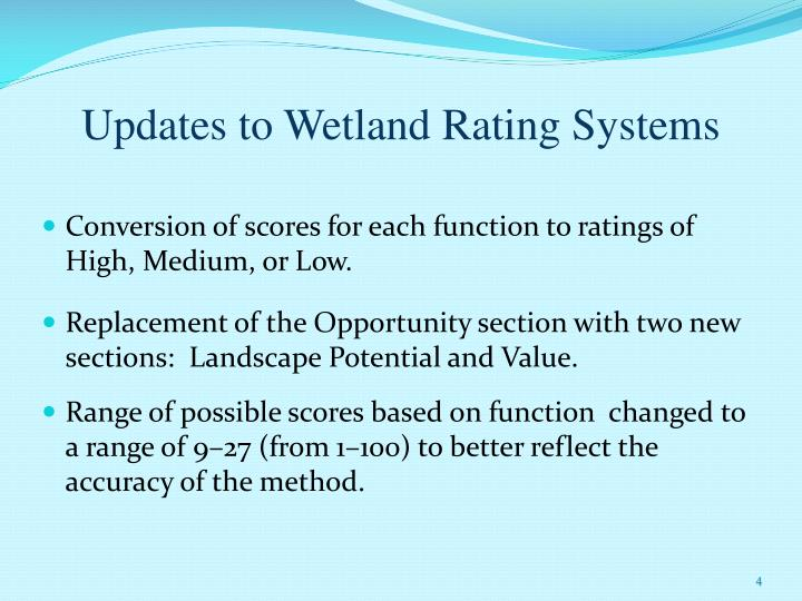 Updates to Wetland Rating Systems