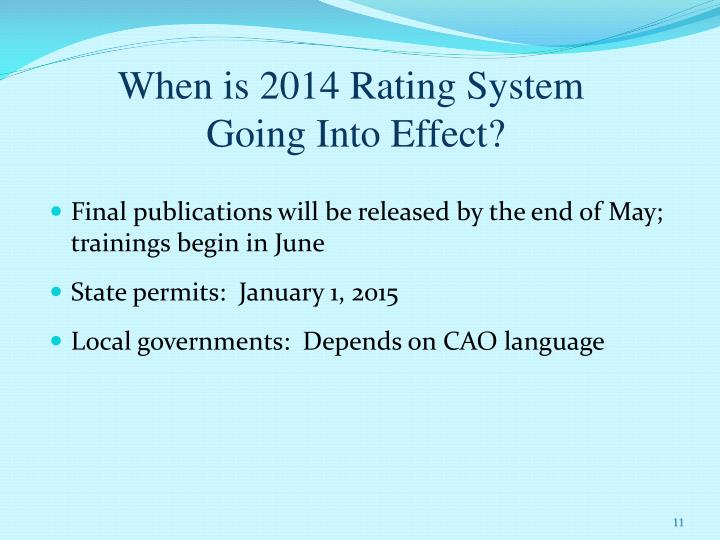 When is 2014 Rating System