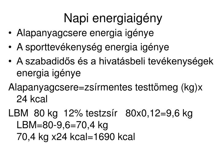 Napi energiaigény