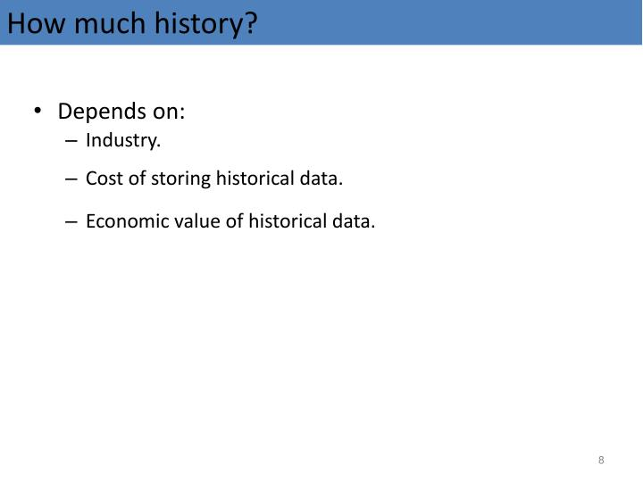 How much history?