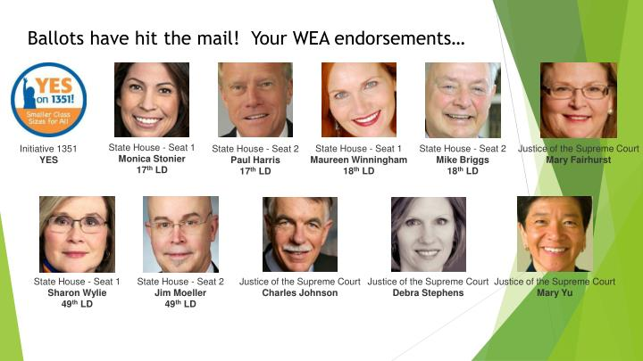 Ballots have hit the mail!  Your WEA endorsements…
