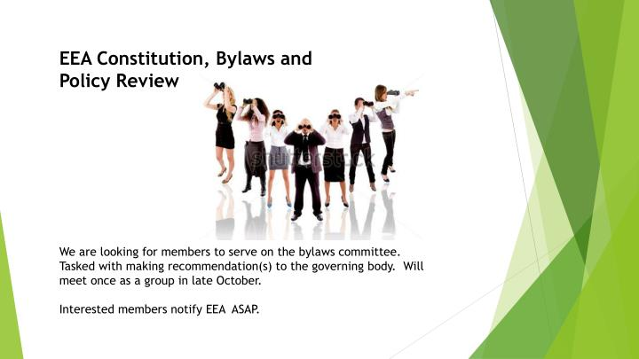 EEA Constitution, Bylaws and Policy Review