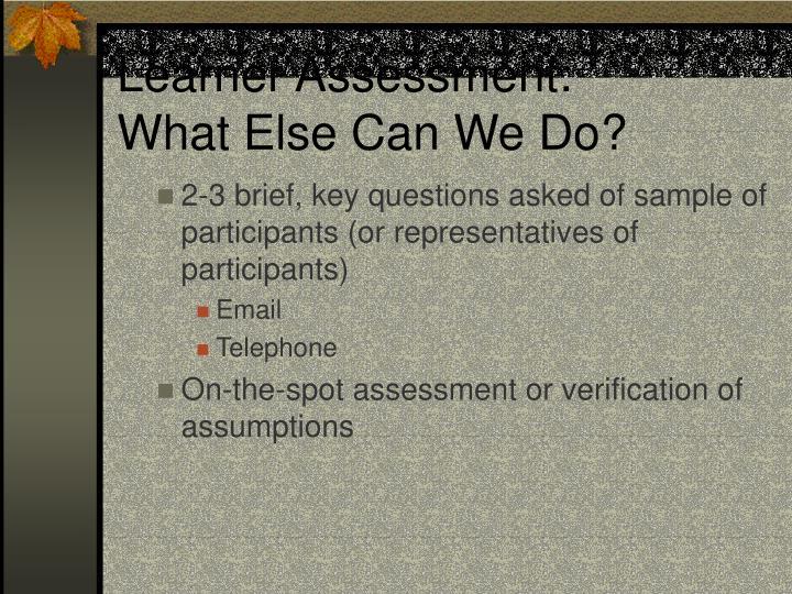 Learner Assessment: