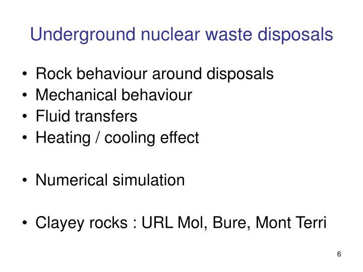 Underground nuclear waste disposals