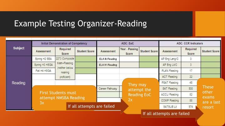 Example Testing Organizer-Reading
