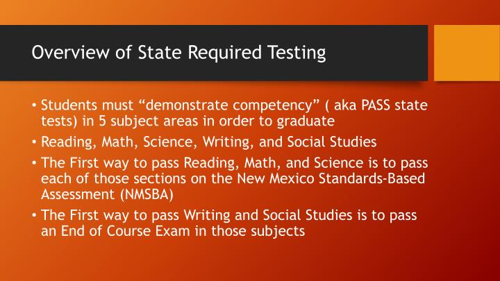 Overview of State Required Testing