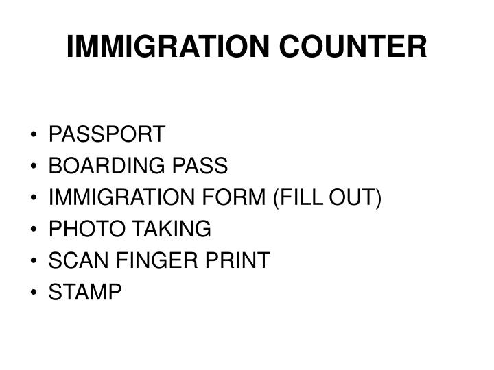 IMMIGRATION COUNTER
