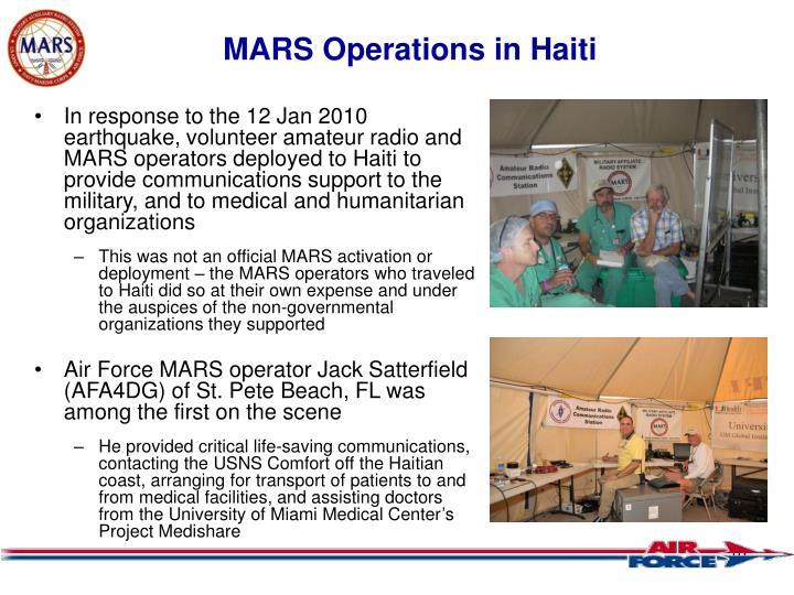 MARS Operations in Haiti