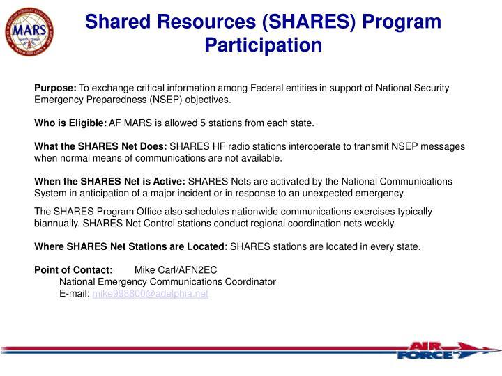 Shared Resources (SHARES) Program Participation