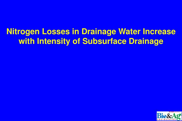 Nitrogen Losses in Drainage Water Increase with Intensity of Subsurface Drainage