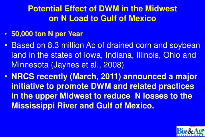 Potential Effect of DWM in the Midwest
