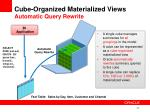 cube organized materialized views automatic query rewrite